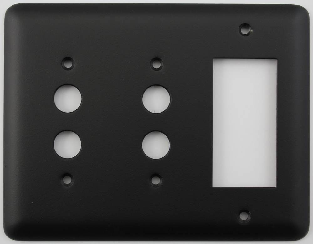 Classic Accents Inc Rounded Black 3 Gang Switch Plate 2 Push